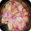 Gestreepte bieten met aardappelpuree
