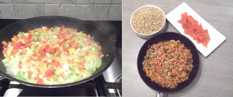 Zalm met gestoofde groenten en voorgekookte tarwe