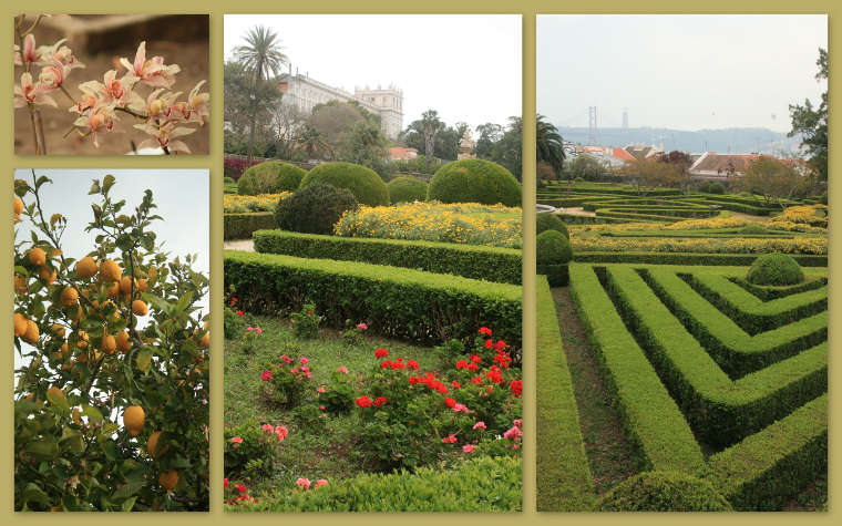De tuin van Ajuda met het koninklijk paleis in de achtergrond