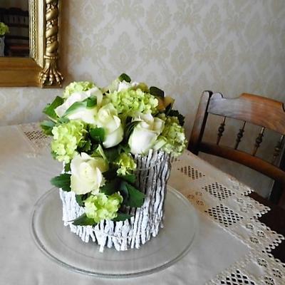 Witte roosjes en witte takjesmat