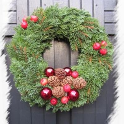 Deurkrans voor Kerst