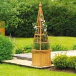 Bloembak met obelisk hout 40 x 40 x 163 cm