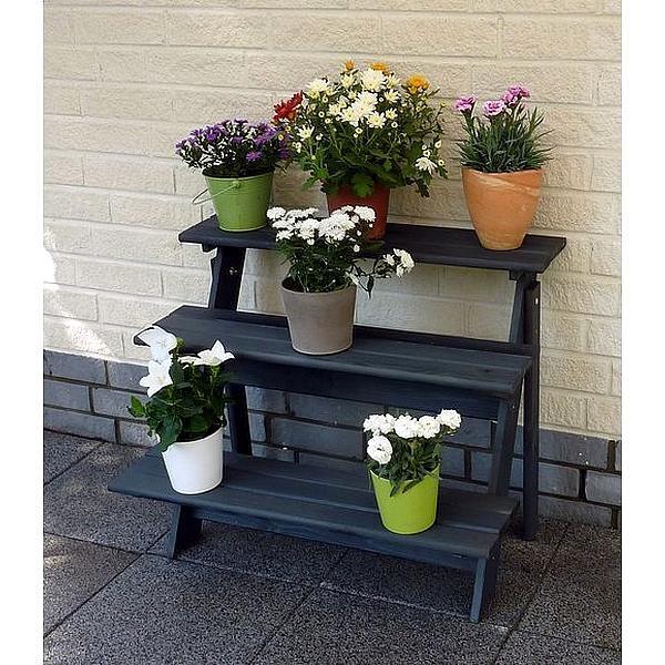 Antracietkleurige houten bloementrap kopen etag res en for Trap buiten hout