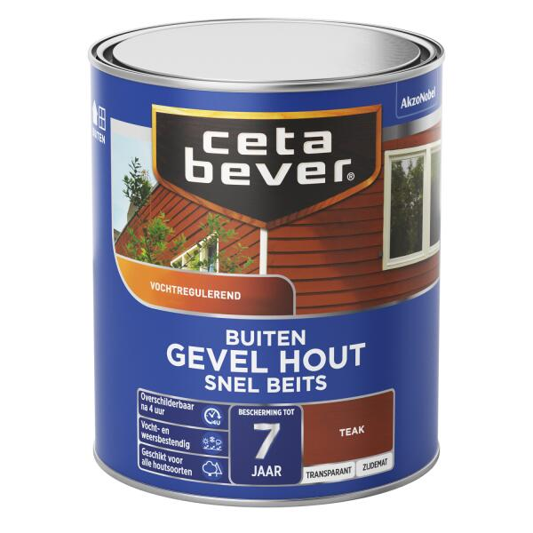 Cetabever Snelbeits Gevel Hout transparant, teak - 750 ml