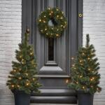 Glendon set kerstbomen en krans met led verlichting
