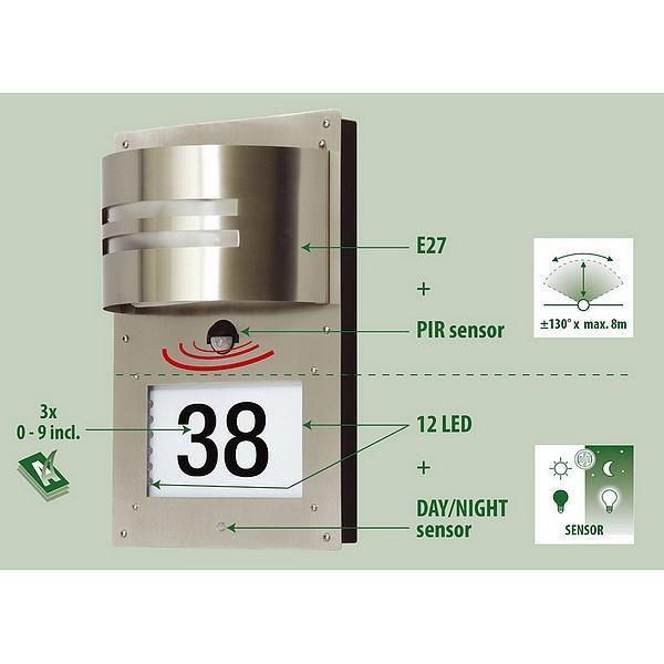 Huisnummer met verlichting aan voordeur - licht aan voordeur met ...