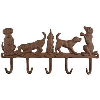 Kapstok Met Decoratieve Honden Kapstok In Gietijzer Met 5 Haken