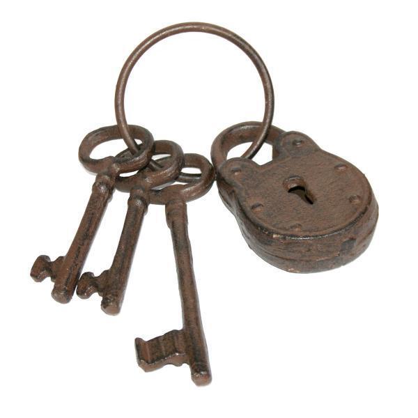 Sleutelbos met slot gietijzeren sleutelbos met 3 for Ladenblok met slot