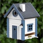 Voederhuis - vogelhuis blauw - wit