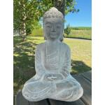 Zittende Boeddha uit cement - 22,5 x 12,5 x 34 cm